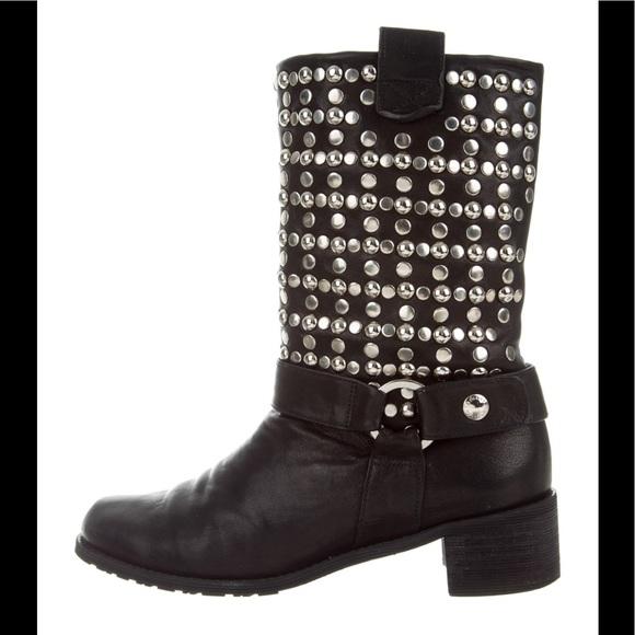 ed3c3e2fd8 Stuart Weitzman studded black Moto boots 8. M 5c08c421534ef9e19d9627eb